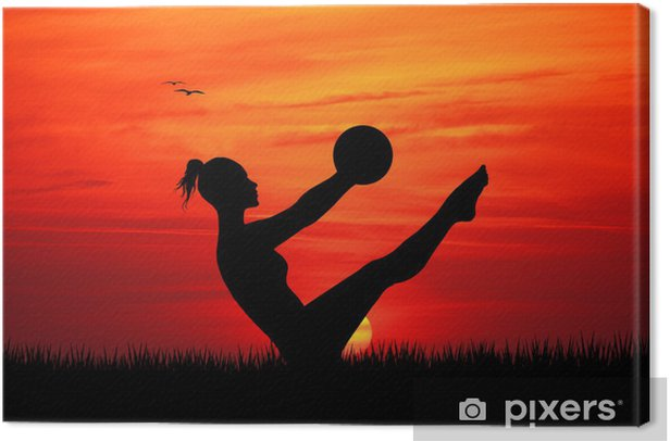 Canvas Pilates bij zonsondergang -