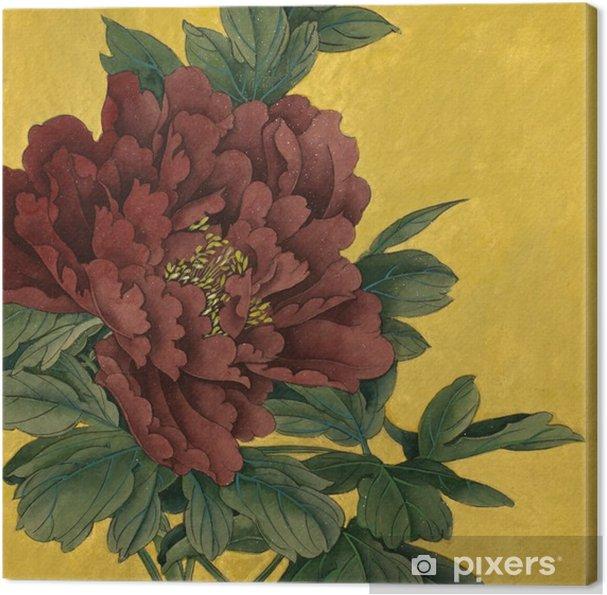 Canvas Pioen bloem op een gouden achtergrond - Bloemen en Planten