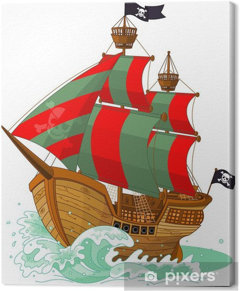 Canvas Piratenschip - Muursticker