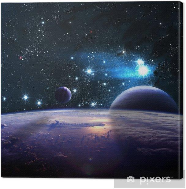 Canvas Planeten over de nevels in de ruimte - Heelal