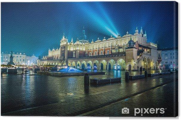 Canvas Polen, Krakau. Market Square 's nachts. -