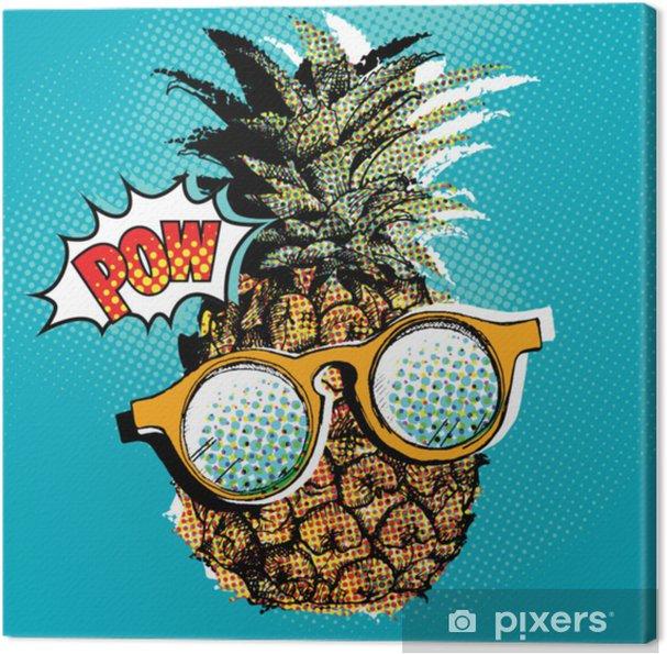 Canvas Popart komische poster met de afbeelding van een ananas met een bril. vectorillustratie - Eten