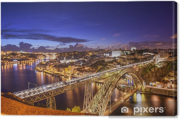 Canvas Porto, Portugal bij Dom Luis Bridge - Europa