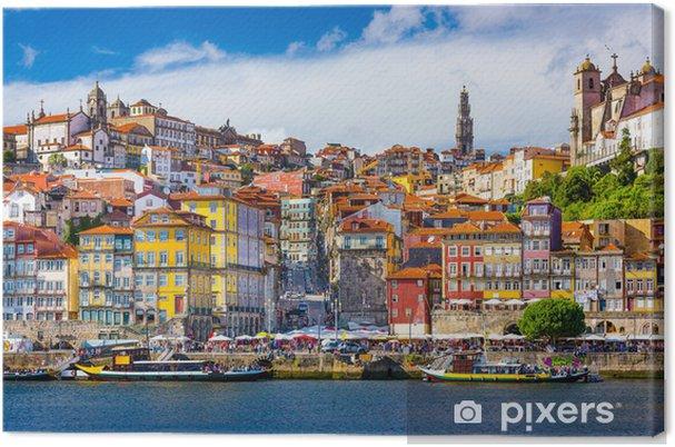Canvas Porto, Portugal Oude Skyline Stad aan de rivier de Douro - iStaging