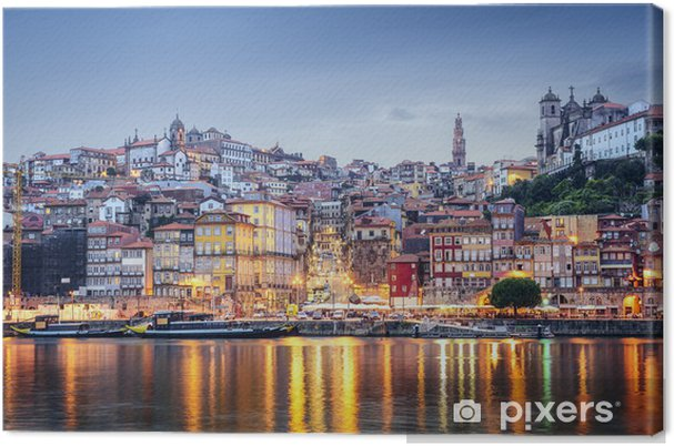 Canvas Porto, Portugal vanaf de overkant van de rivier de Douro - Europa