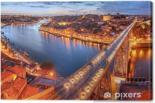 Canvas Porto, rivier position en brug bij nacht - Thema's