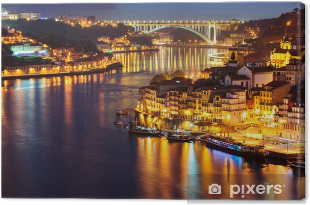 Canvas Porto stad in de nacht - Vakantie