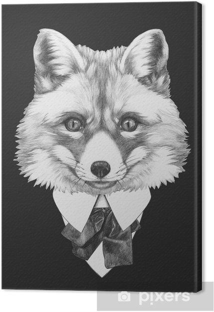 Canvas Portret van Fox in kostuum. Hand getrokken illustratie. - iStaging