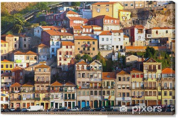Canvas Portugal. Porto stad. Uitzicht op de Douro rivierdijk - Stedelijk