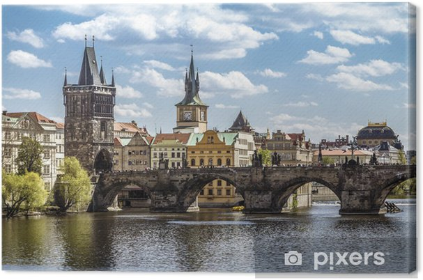 Canvas Praag, de Karelsbrug (Karluv Most) - Praag