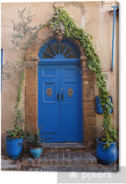 Canvas Prachtige blauwe deur in El-Jadida, Marokko - Thema's