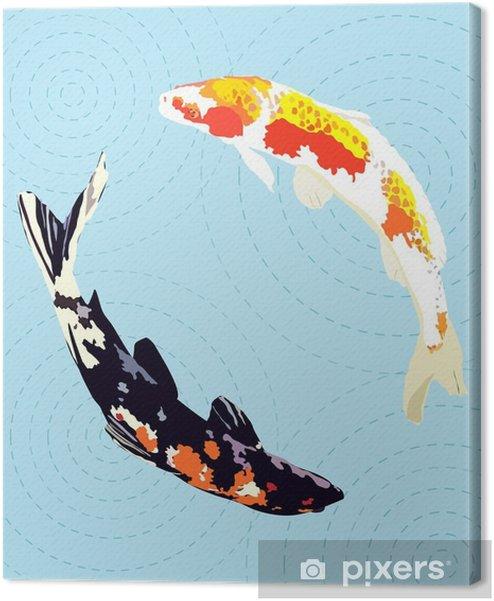Canvas premium Chinees karper, japanse koi vissen, vector illustratie - Dieren