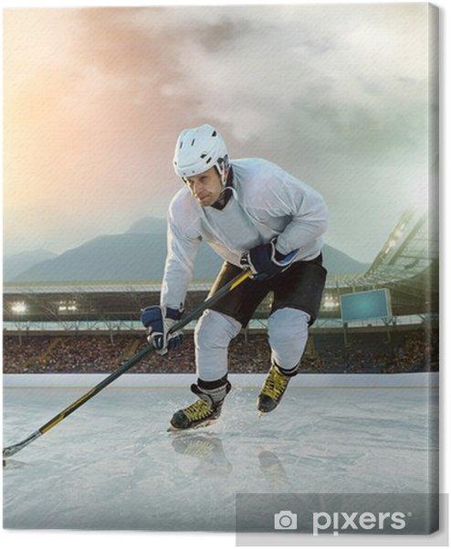 Canvas premium Ijshockeyspeler op het ijs. Open stadion - Winter Classic spel - Individuele sport