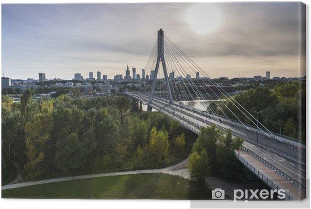 Canvas premium Panorama van Warschau in Polen - Thema's
