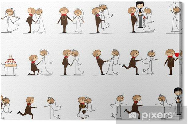 Жених и невеста на свадьбе, вектор Canvas Print - Couples