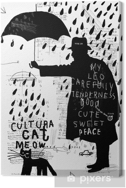 Мужчина с зонтиком Canvas Print - Themes