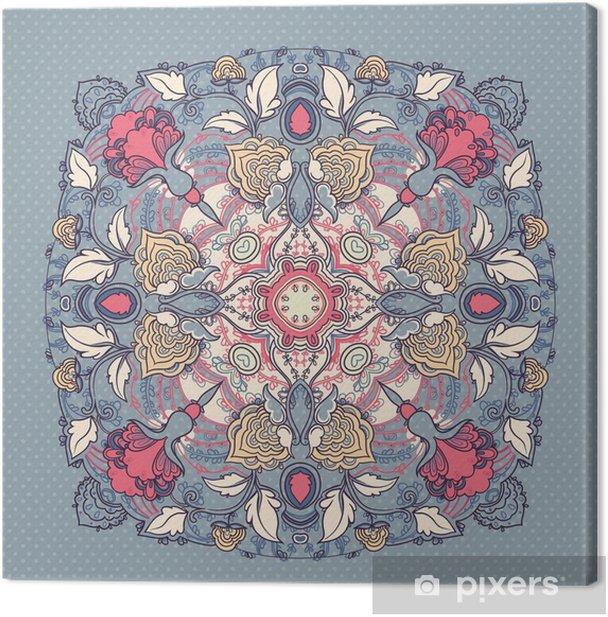 круглый кружевной цветочный узор Canvas Print - Backgrounds