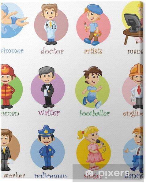 Векторные иллюстрации людей разных профессий Canvas Print - People at Work