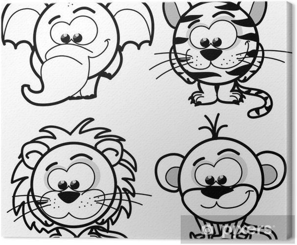 Мультфильм милые животные, вектор Canvas Print - Mammals