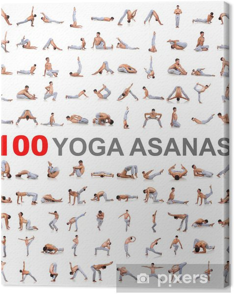 100 yoga poses on white background Canvas Print - Individual Sports