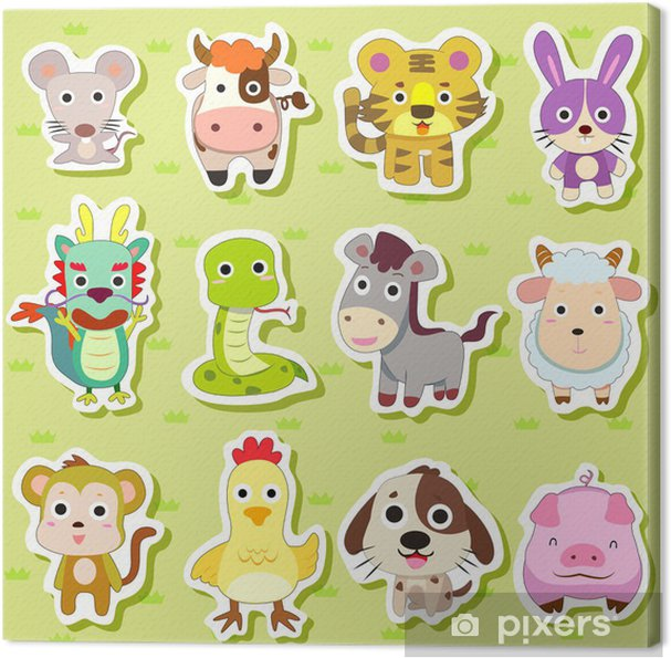 12 Chinese Zodiac Animal Stickers Canvas Print Pixers We Live