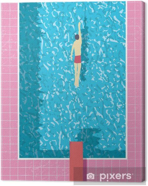 1980s style summer holiday poster with swimmer in swimming pool. Pink grunge worn tiles and water texture. Canvas Print - Sports
