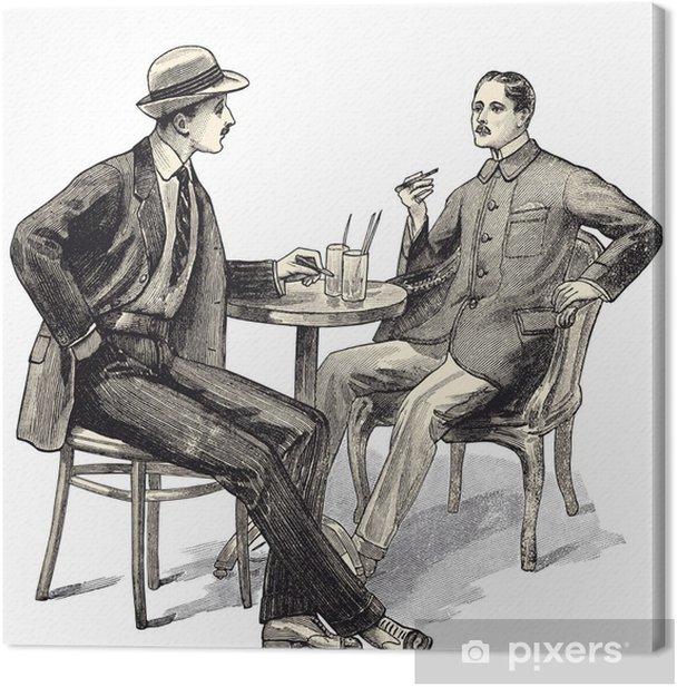 2 hommes au café Canvas Print - Business Concepts