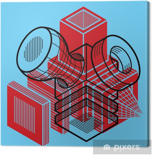 3D design, abstract vector dimensional cube shape. Canvas Print - Graphic Resources