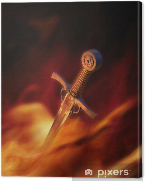 3D illustration of a medieval sword in fire Canvas Print - Esoteric