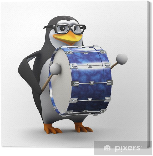 3d Penguin in glasses plays a big bass drum Canvas Print - Signs and Symbols