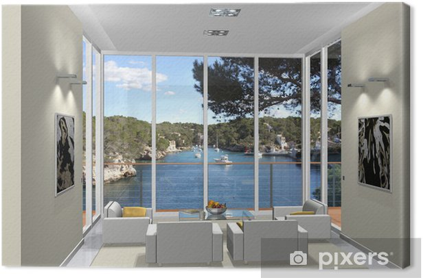 3D Rendering Wohnzimmer im Erker Canvas Print - Private Buildings