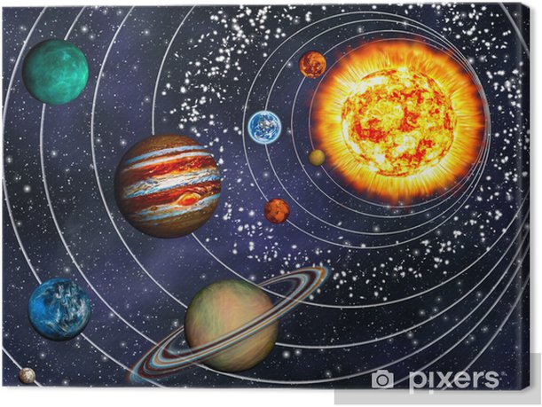 3D Solar System: 9 planets in their orbits Canvas Print - Universe