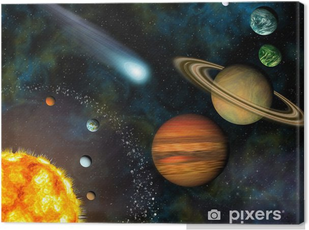 3D Solar System Wallpaper Contains The Sun And Nine Planets Canvas Print