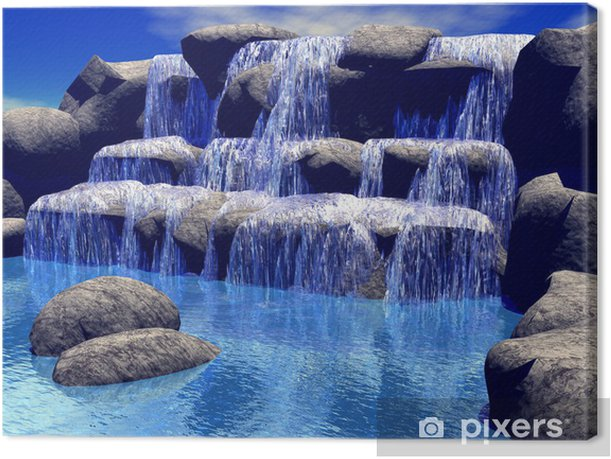 3d waterfall Canvas Print - Styles