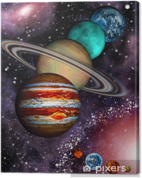 9 planets of the Solar System, asteroid belt and spiral galaxy. Canvas Print - Universe
