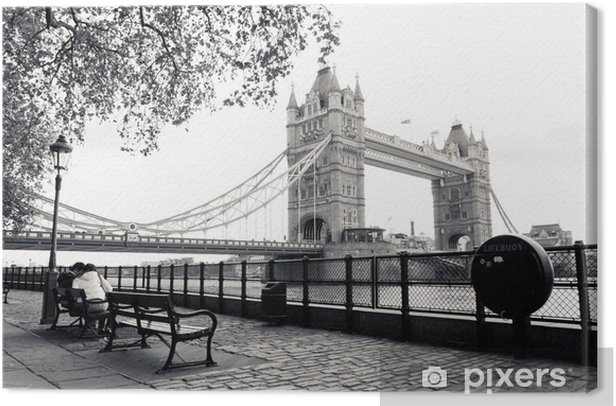 A black and white view of Tower Bridge Canvas Print - Themes