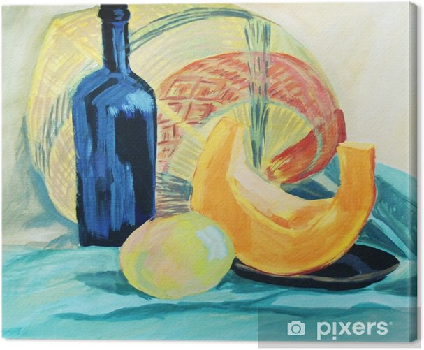 A bottle of wine and fresh vegetables on drapery background Canvas Print - Hobbies and Leisure