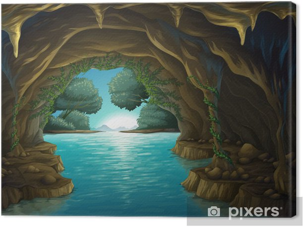 A cave and a water Canvas Print - Water