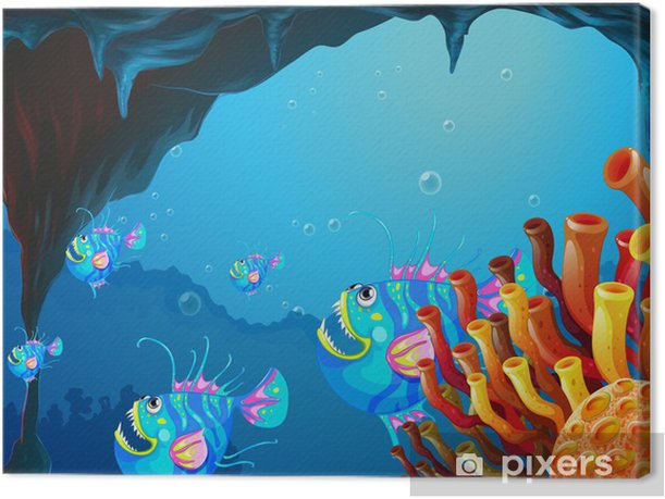 A cave under the sea with a school of fish Canvas Print - Aquatic and Marine Life