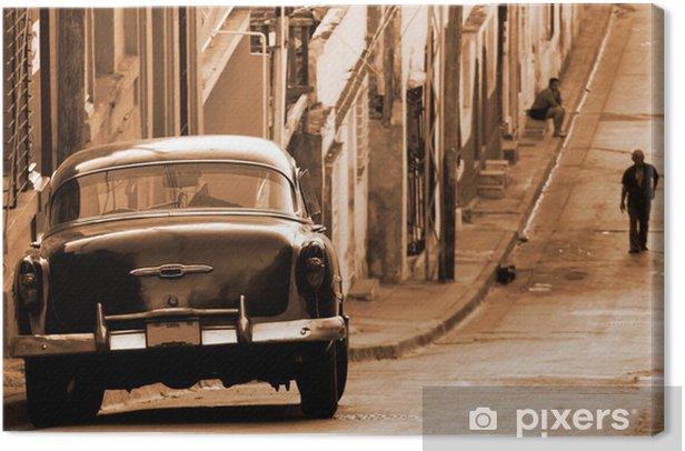A classic car in a street, Cuba Canvas Print - Styles