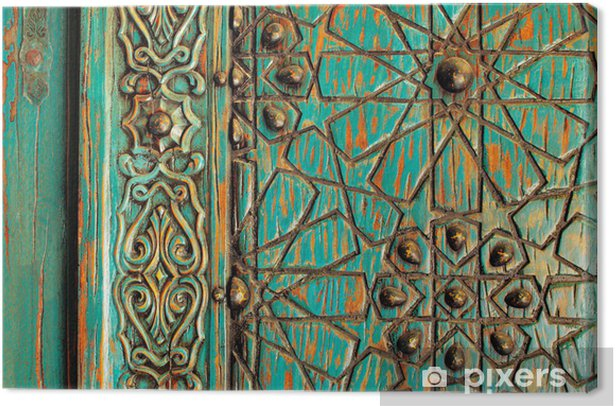 A detail shot of an ancient ottoman door Canvas Print - The Middle East