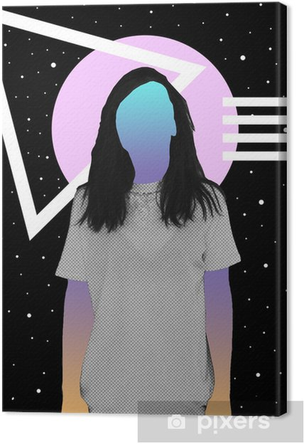 A girl with a newspaper texture and a gradient instead of a face stands against the background of space and geometric shapes. Contemporary art collage. Canvas Print - Graphic Resources