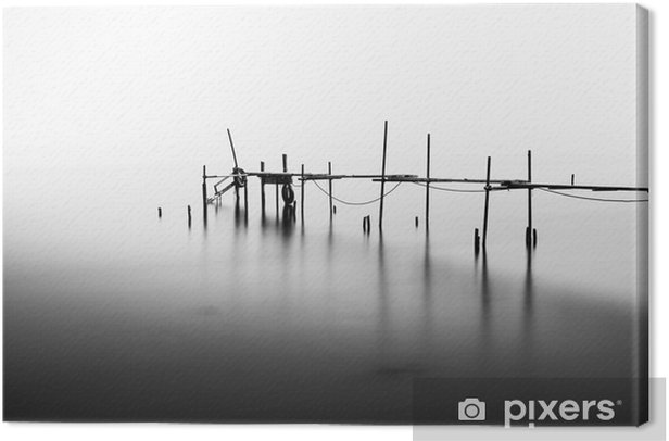 A Long Exposure of an ruined Pier in the Middle of the Sea.Processed in B&W. Canvas Print - Landscapes