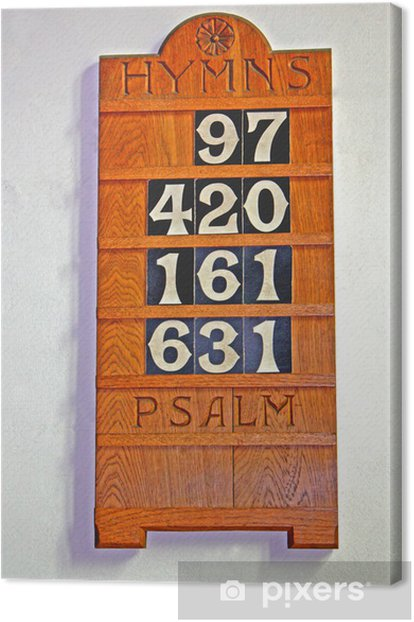 A Wooden Display Board for Church Hymn Numbers. Canvas Print - Signs and Symbols