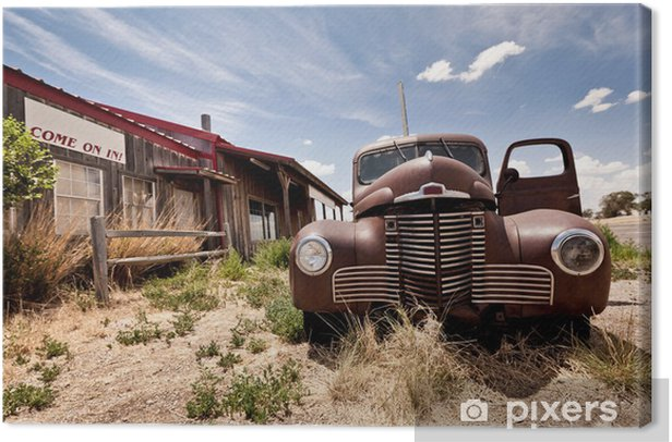 Abandoned restaraunt on route 66 road in USA Canvas Print - Themes