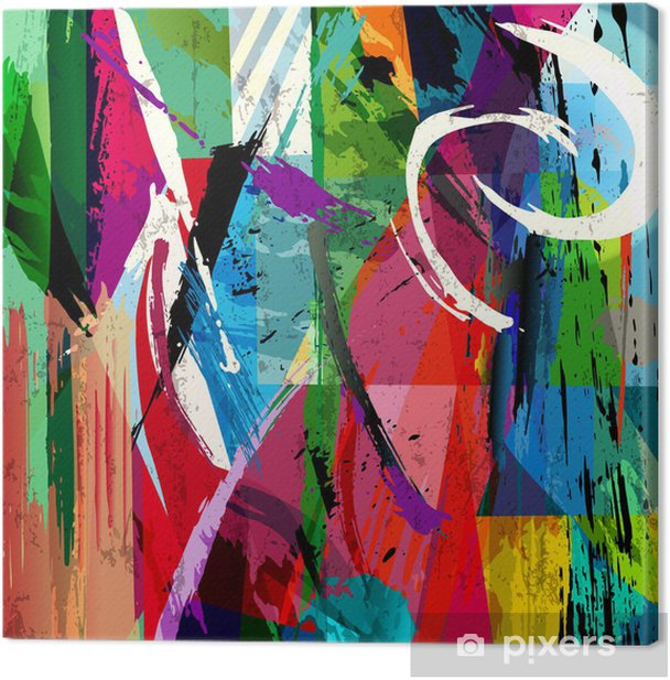 abstract background composition, with paint strokes, splashes an Canvas Print -