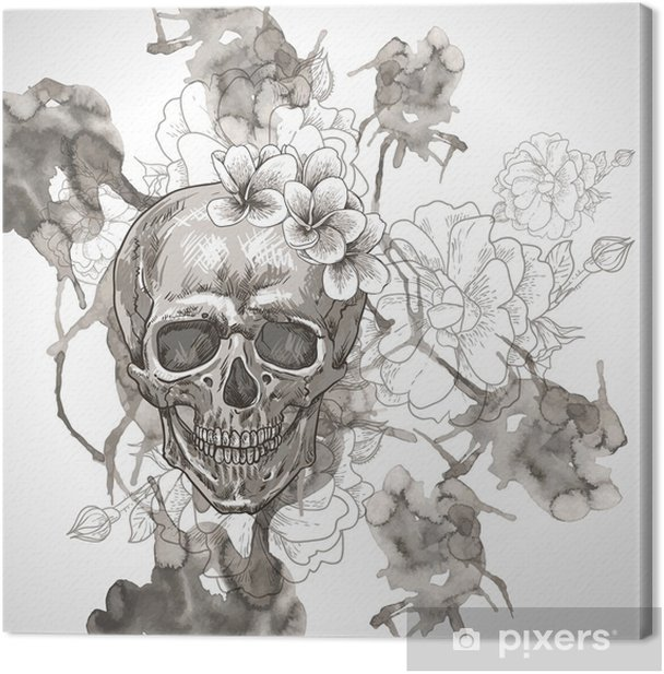 Abstract Background with Skull, Wings and Flowers Canvas Print - Flowers