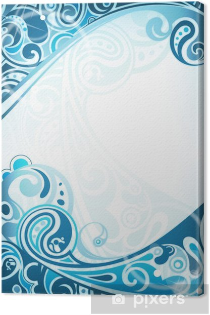 Abstract Blue Curve Background Canvas Print - Backgrounds