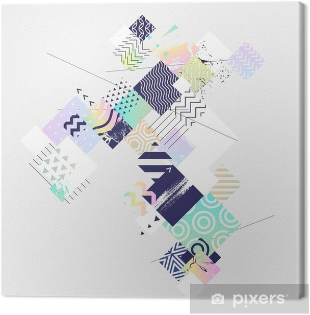 Abstract colorful geometric composition Canvas Print - Graphic Resources