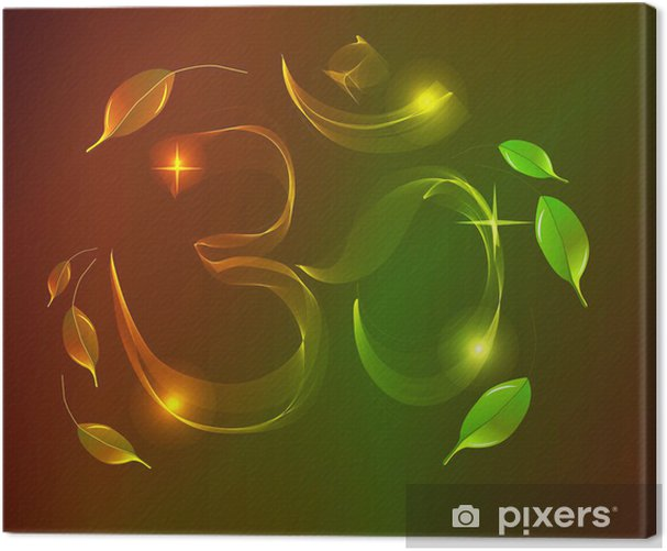 Abstract colorful OM sign over dark background Canvas Print - Esoteric